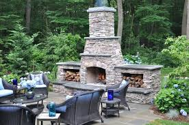 Stacked Stone Outdoor Fireplace - build stacked stone backyard fireplace patio kits outdoor kitchen