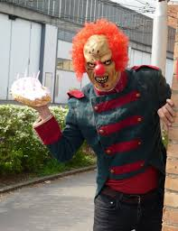 happy birthday creepy clown scary evil clown hired for stalking threats and a pie in the metro