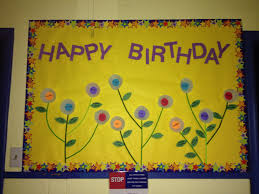 preschool happy birthday bulletin board months on flowers made