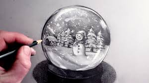 how to draw a snowman in a snow globe youtube
