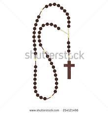 praying necklace brown wooden catholic rosary religious stock vector