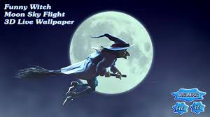 halloween flying witch background funny witch moon sky flight 3d android apps on google play