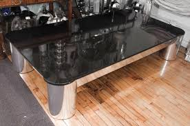 Granite Top Coffee Table Furniture Black Granite Top Coffee Table With Silver Chrome Base