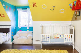 Blue And Yellow Bedroom by Bedroom Decorating Ideas Eclectic Nursery In Blue And Yellow