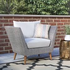 Patio Furniture Langley Langley Street Newbury Eucalyptus Patio Arm Chair With Cushions
