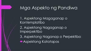 mga uri at mga aspekto ng pandiwa