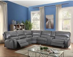 Power Sectional Sofa Saul Gray Leather Aire Power Sectional Sofa