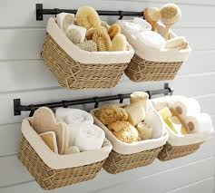 Hanging Baskets For Bathroom Storage Build Your Own Basket Wall System Pottery Barn