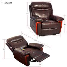 massage recliner pu leather rocker lounge with heat and massage