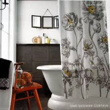 White And Yellow Shower Curtain Home Yellow Sketch Floral Black White Fabric Shower Curtain