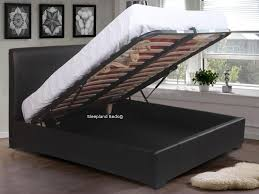 Ottoman Black Leather Black Leather Ottoman Bed With Storage By Sleepland Beds