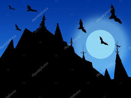 Halloween Flying Bats Halloween Background With Silhouettes Of Castle Roofs With Weather