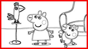 peppa pig and parrot coloring pages and drawing book video for