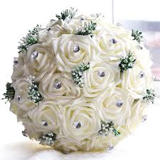 online shop wedding decoration supplies ivory satin rose luxury