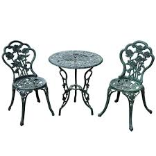 outsunny 3 piece outdoor cast iron patio furniture antique style