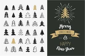 hand drawn christmas tree elements graphics creative market