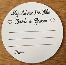 Advice For Bride And Groom Cards Wedding Advice Coasters Bride And Groom Advice Black Text On White