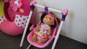 Pink Swinging Baby Chair Unboxing Baby Alive High Chair Set Youtube