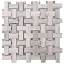 Basket Weave Kitchen Backsplash by Shop Avenzo 12 In X 12 In Stone And Glass Grey Basketweave Mosaic