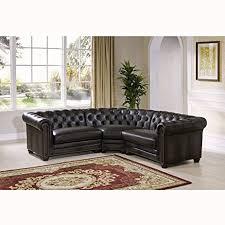 Top Grain Leather Sectional Sofa Amazon Com Sofaweb Com Lyles Tufted Grey Premium Top Grain