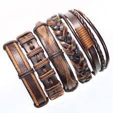 Handmade Mens Bracelets - genuine braided leather brown handmade tribal ethnic bracelet