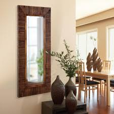 Wood Mirror Frame Medium Brown Wood Mirrors Wall Decor The Home Depot