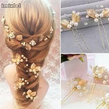 pearl hair pins 1pc handmade accessories vintage gold leaf flower hair sticks