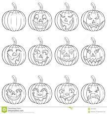 halloween background characters halloween set of twelve pumpkin outlines stock vector image