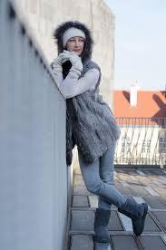 s prague ugg boots renika cz wearing wearing fur vest rabbit raccoon kirkland