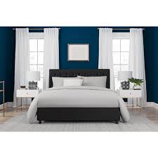 Faux Bed Frames Dhp Emily Black Upholstered Faux Leather Size Bed Frame