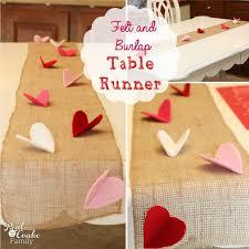 valentines day table runner felt and burlap table runner