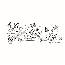 Live Laugh Love Home Decor by U0026 Butterfly Flowers Live Laugh Love Quotes Music Wall Stickers