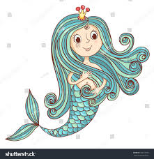 mermaid princess isolated white vector stock vector 184517945