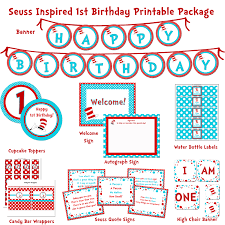 seuss cat in the hat birthday 1st birthday party printable package