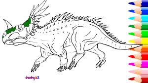 styracosaurus dinosaur in jurassic world coloring page and how to