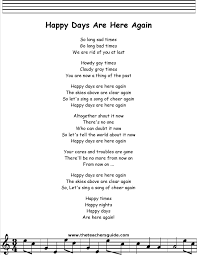 happy days are here again lyrics printout midi and