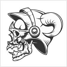 skull and tribal design on white stock vector