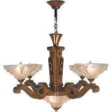 Art Deco Style Light Fixtures by Art Deco French Ezan Style Icicle Chandelier With 4 Arm Wooden