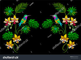tropical embroidery flowers orchids hummingbird plants stock