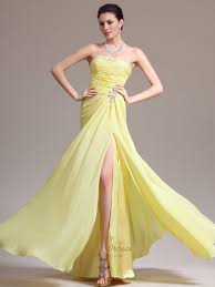 light yellow prom dresses yellow strapless beaded neckline chiffon prom dress with side slits