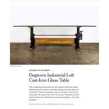 cast iron glass table dogtown industrial loft cast iron glass dining table kathy kuo home