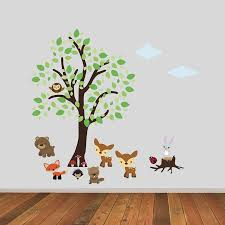 woodland wall stickers pastel woodland tree with owl wall wall stickers woodland animals tree with woodland animals wall sticker by mirrorin