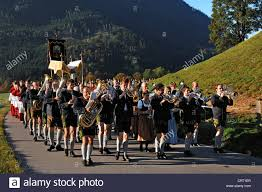 marching band during the thanksgiving procession in ramsau