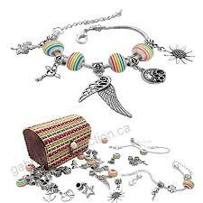 necklace making set images Charm bracelet making kit diy craft european bead silver plated jpg