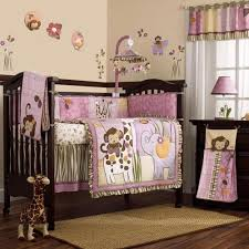 Jungle Themed Nursery Bedding Sets Pink And Purple Jungle Safari Animals Baby 8pc Crib Bedding