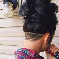 photo of the back of hair with a short bob shaved back shave girl hair unique hairstyles hair