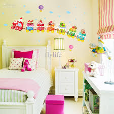 Flower Wall Decals For Nursery by Removable Cartoon Wall Stickers Colorful Cakes Compose A Train