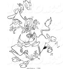 vector of a cartoon rodeo bull and cowboy coloring page outline