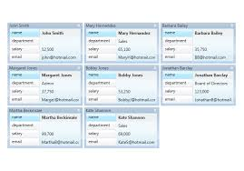 custom card style data cards wpf