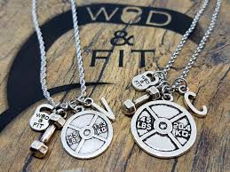 letter plate necklace images Couple workout necklace weight plate dumbbell initial letter jpg